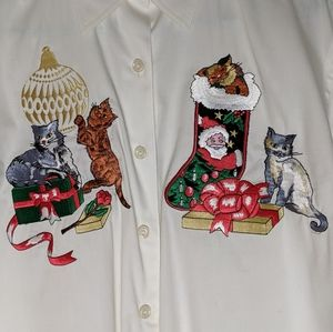 RAFAELLA white long sleeve Christmas cats shirt.